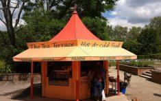 Food kiosk awning
